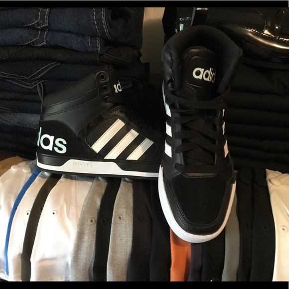 Men s Shoes Adidas Hoops 2.0 Mid Black White 6 1 2 431585884